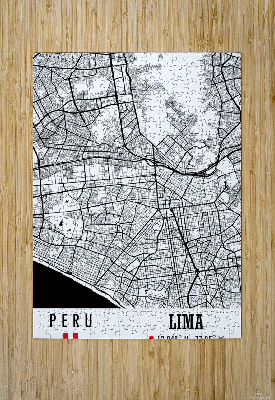 Lima PERU Map  HD Metal print with Floating Frame on Back