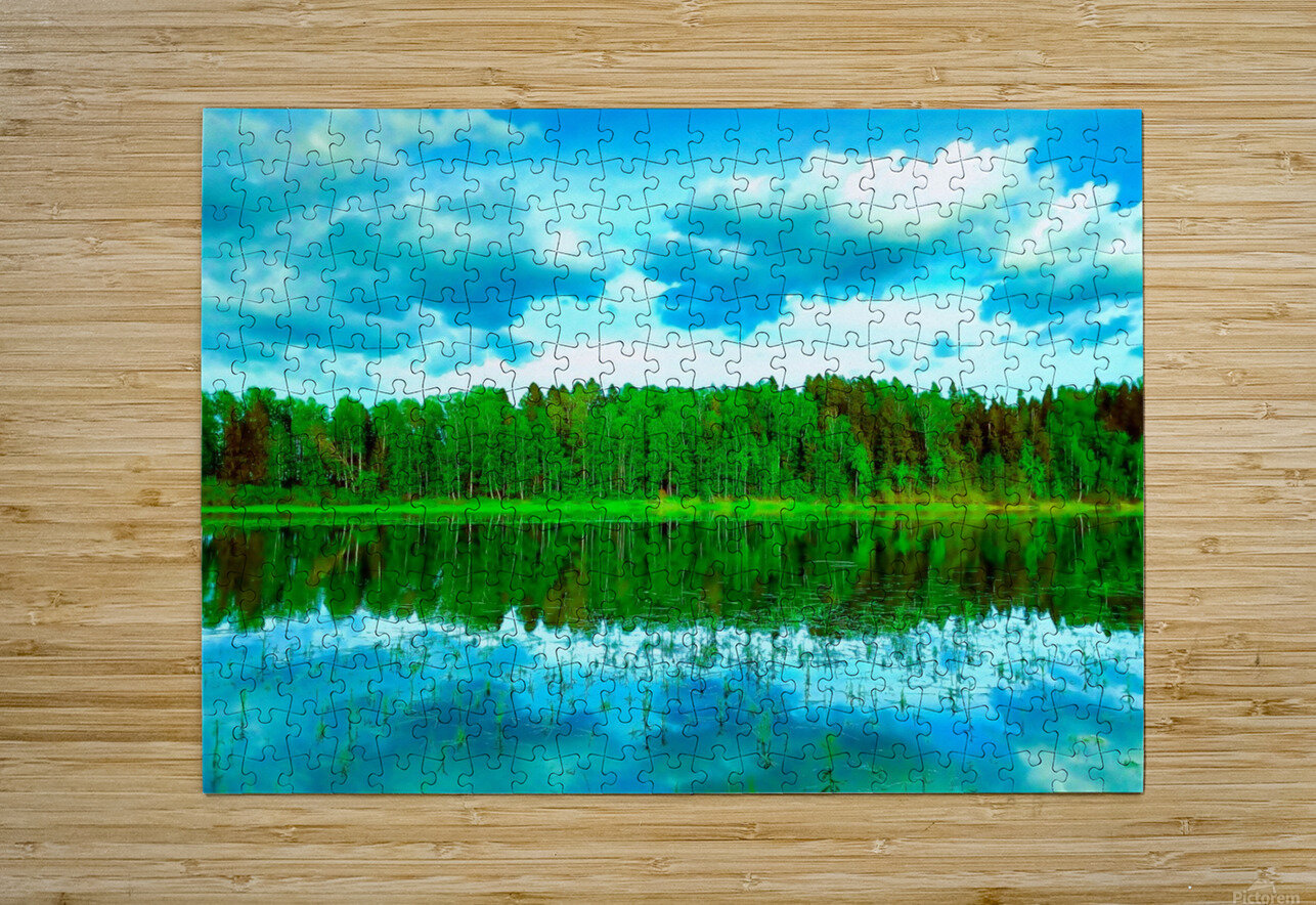 Forest beyond the lake  HD Metal print with Floating Frame on Back