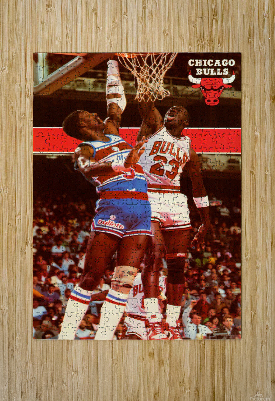 1985 Michael Jordan Dunk Chicago Bulls Poster  HD Metal print with Floating Frame on Back