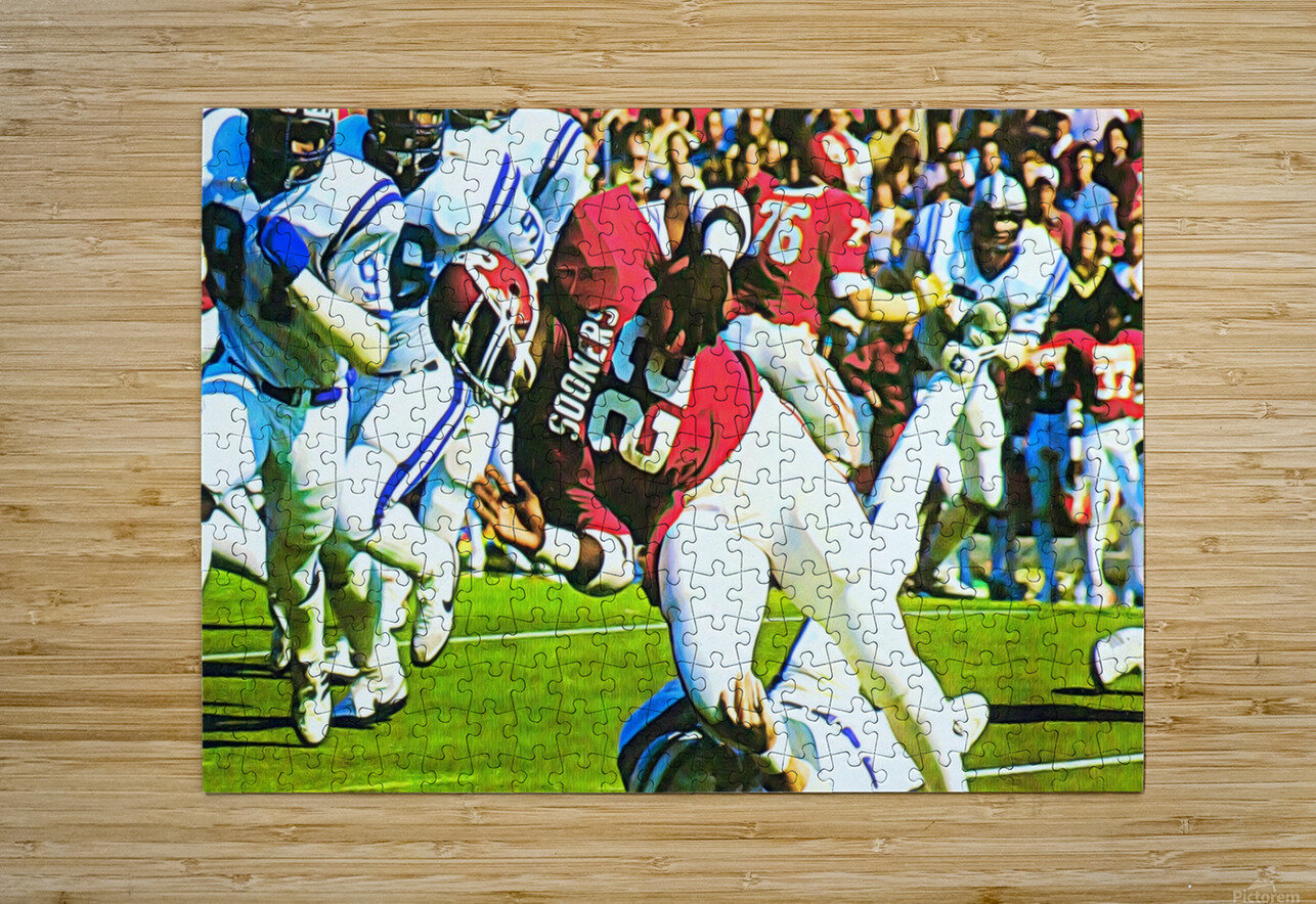1982 Marcus Dupree Oklahoma Football Art  HD Metal print with Floating Frame on Back