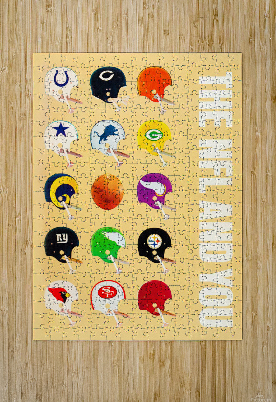 1963 vintage nfl helmets reproduction art  HD Metal print with Floating Frame on Back