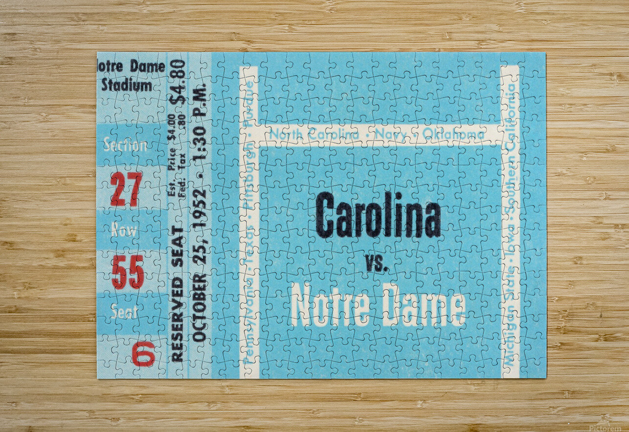 1952 north carolina tar heels notre dame irish college football sports ticket art south bend indiana  HD Metal print with Floating Frame on Back