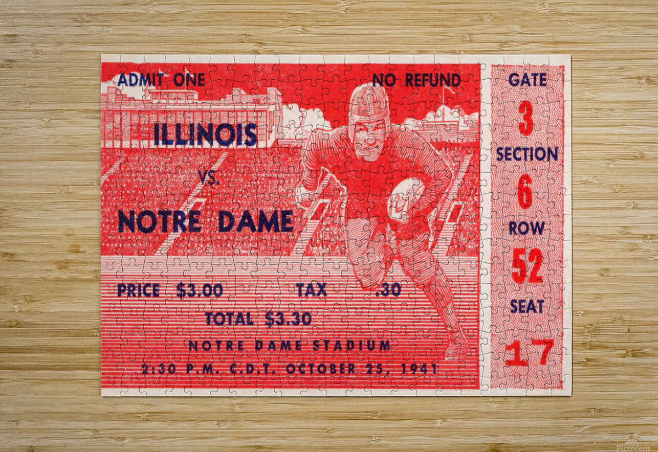 1941 illinois illini notre dame irish college football ticket sports wall art south bend indiana  HD Metal print with Floating Frame on Back