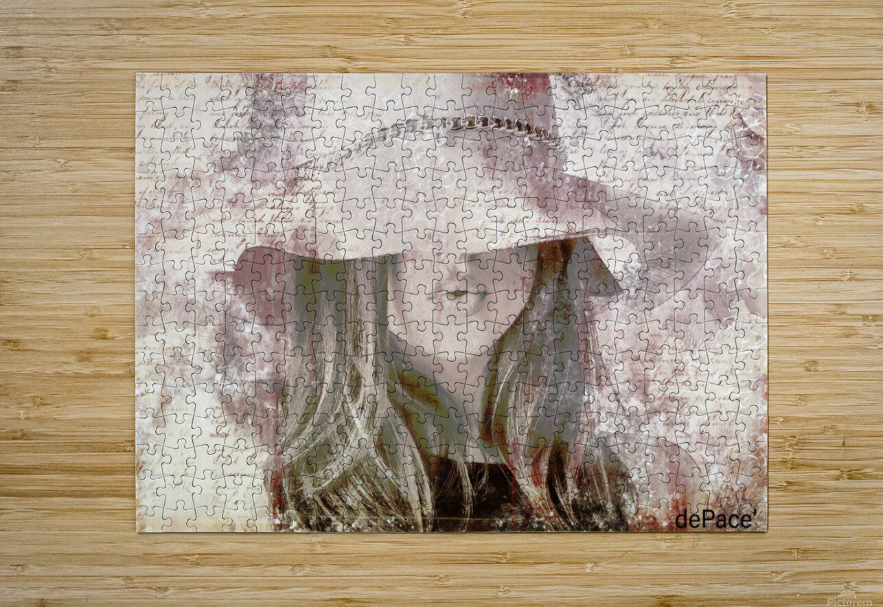 Lovely Girl with Hat on Vintage paper  HD Metal print with Floating Frame on Back