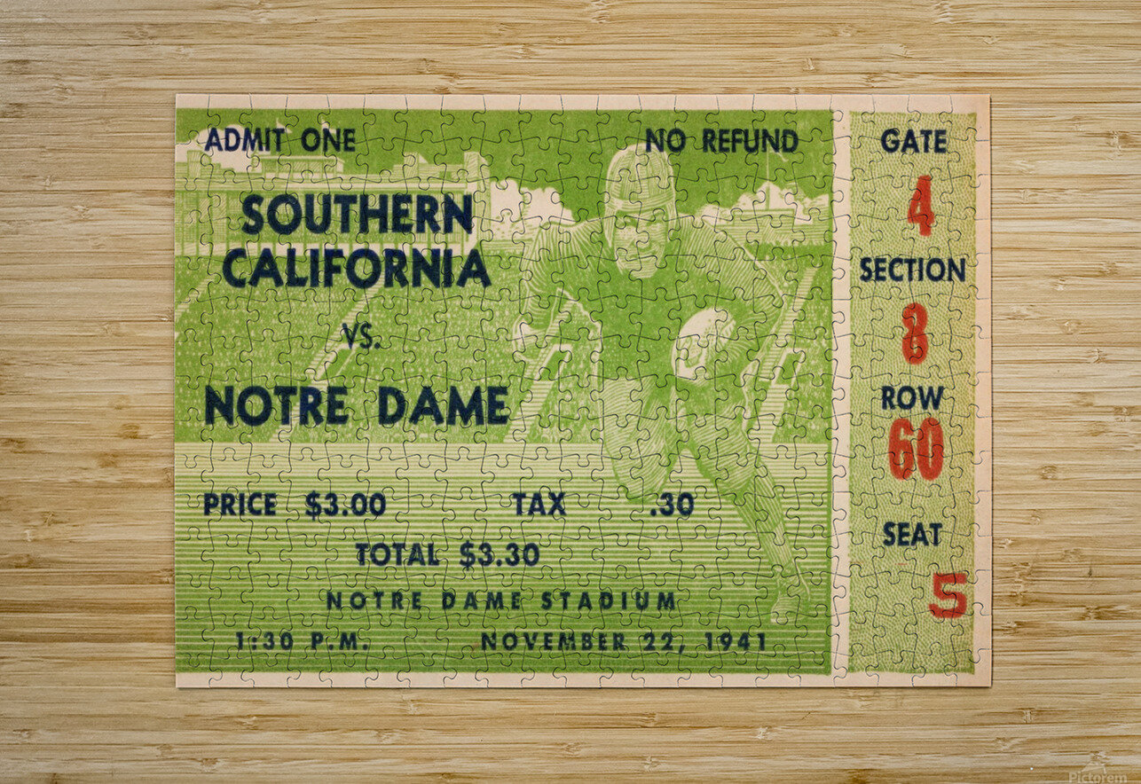 1941 usc notre dame football ticket wall art sports gift ideas south bend indiana  HD Metal print with Floating Frame on Back