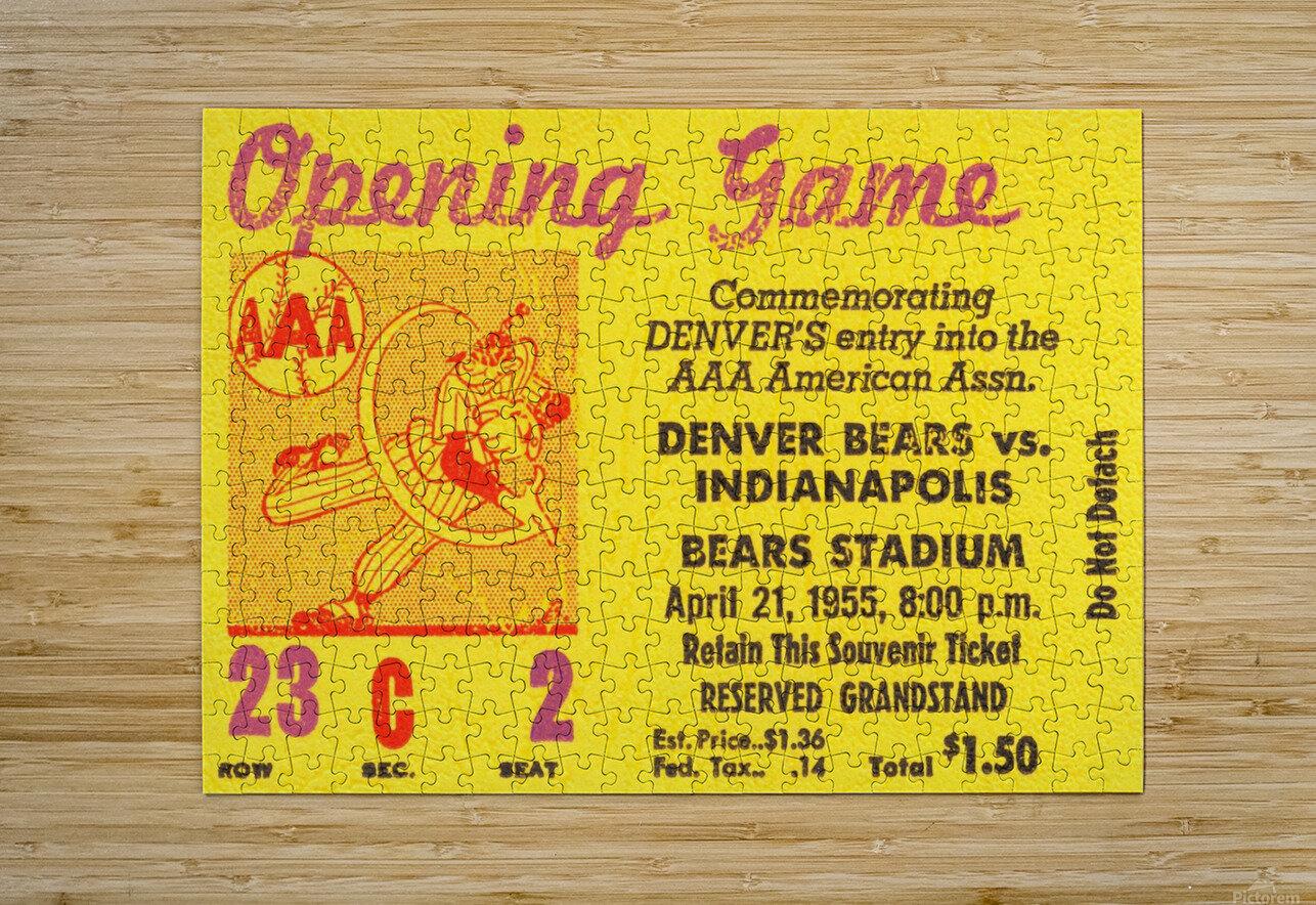 1955 aaa baseball denver bears opening game baseball ticket stub frame canvas  HD Metal print with Floating Frame on Back