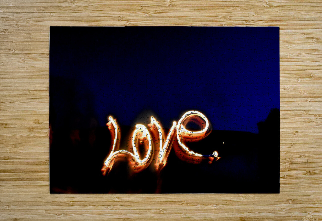 Love lights sculpture   HD Metal print with Floating Frame on Back