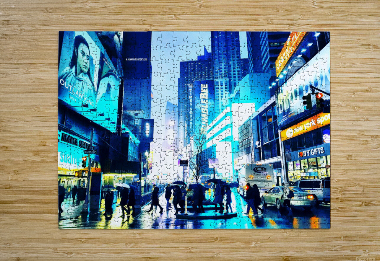 Time square New-York   HD Metal print with Floating Frame on Back