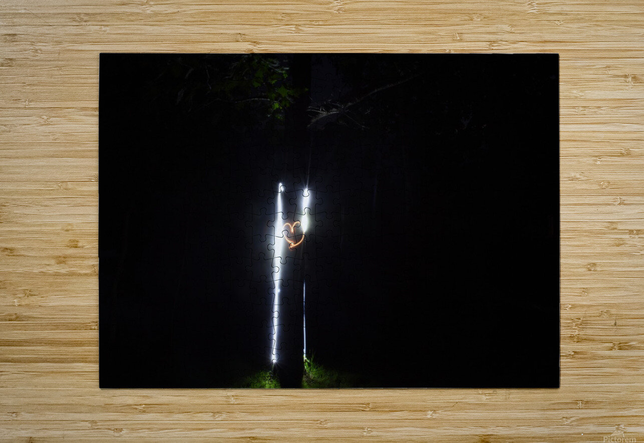 Fire graffiti on tree   HD Metal print with Floating Frame on Back