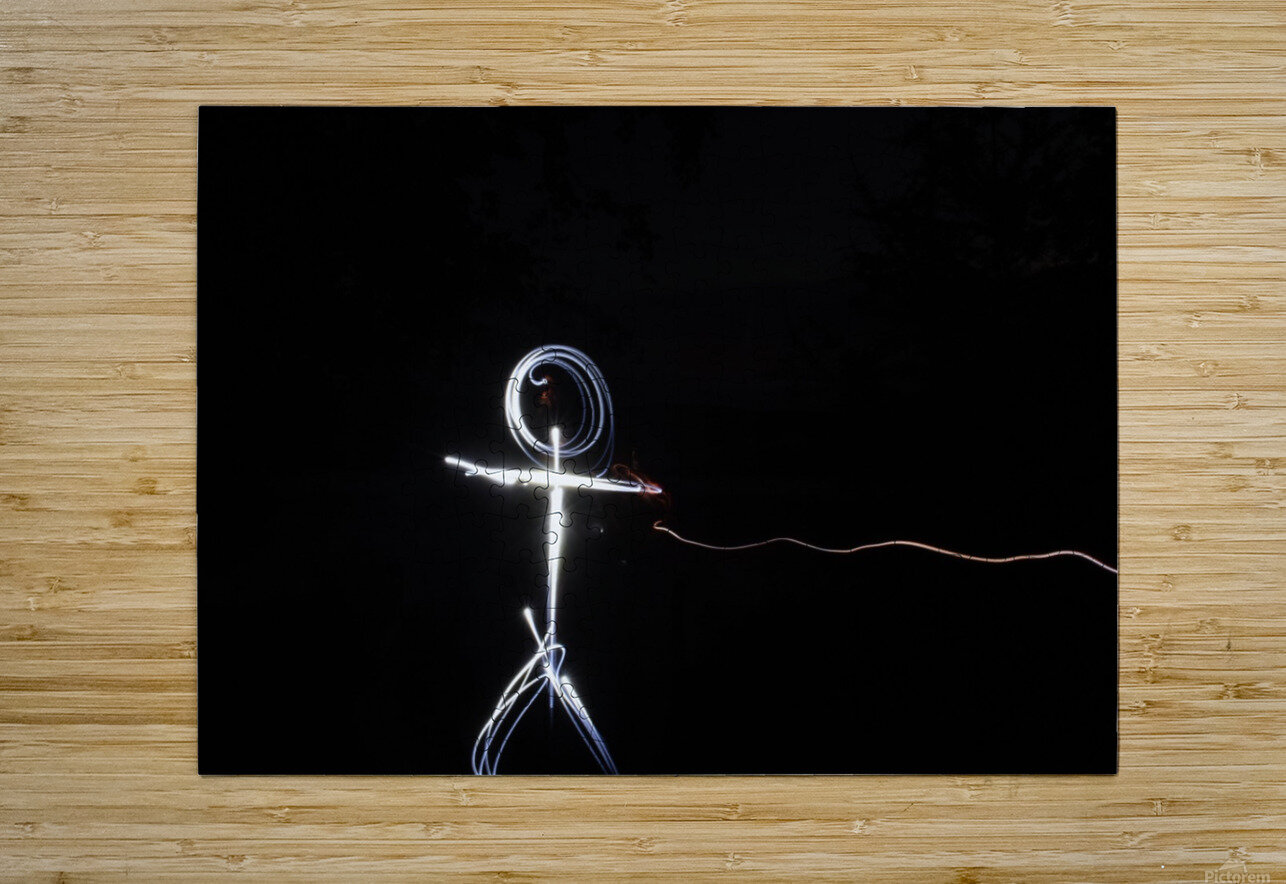 light stick man  HD Metal print with Floating Frame on Back