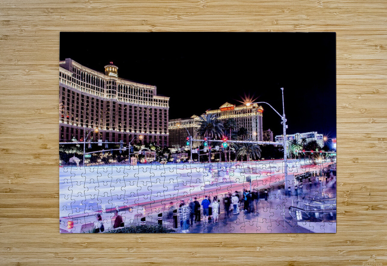 Las vegas Night Shot  HD Metal print with Floating Frame on Back
