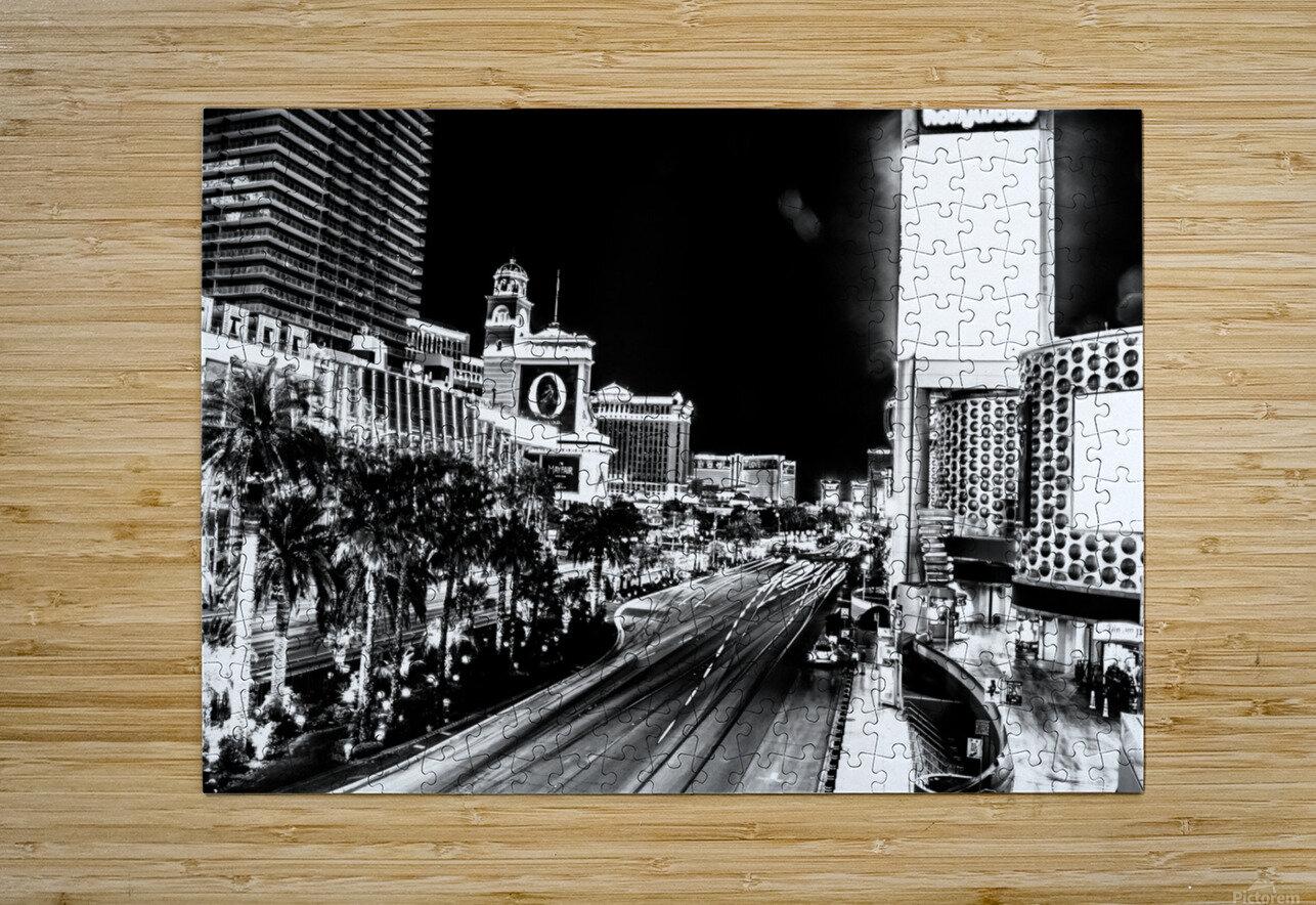 Las Vegas Night Shot B&W  HD Metal print with Floating Frame on Back
