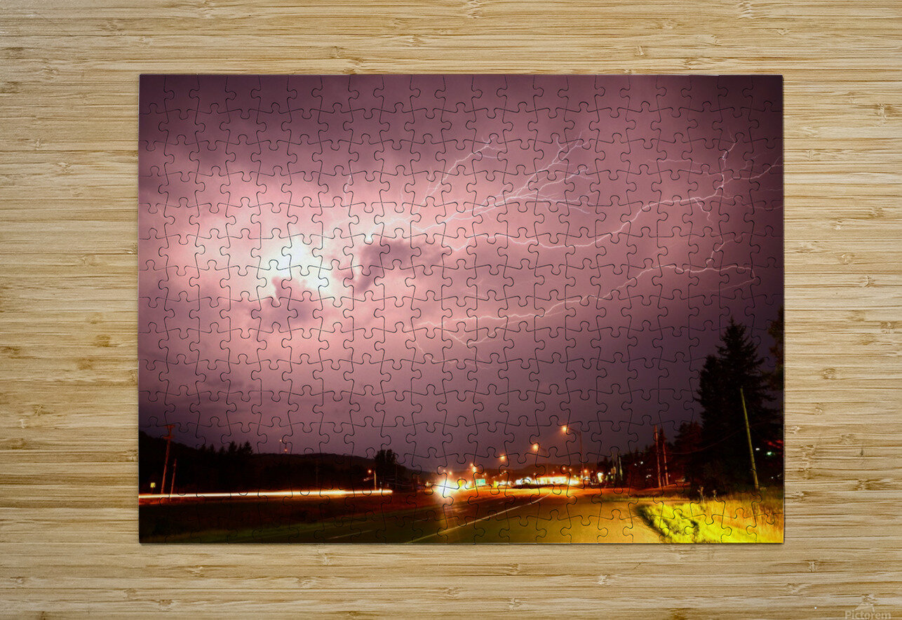 Lightning Catch  HD Metal print with Floating Frame on Back