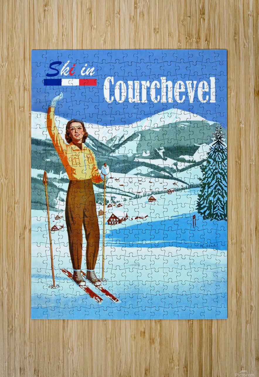 Ski in Courchevel  HD Metal print with Floating Frame on Back
