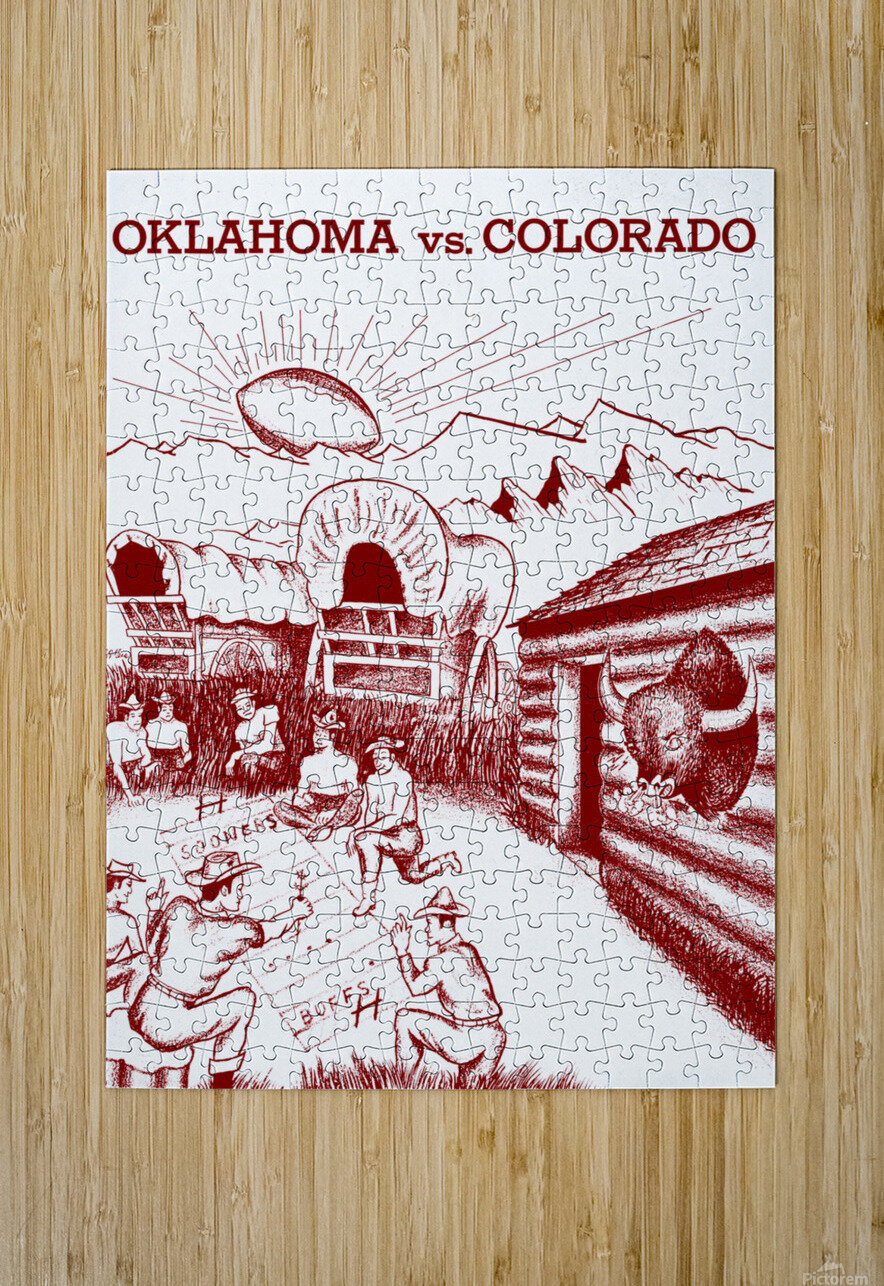 1954 oklahoma sooners colorado buffaloes football program canvas artwork  HD Metal print with Floating Frame on Back