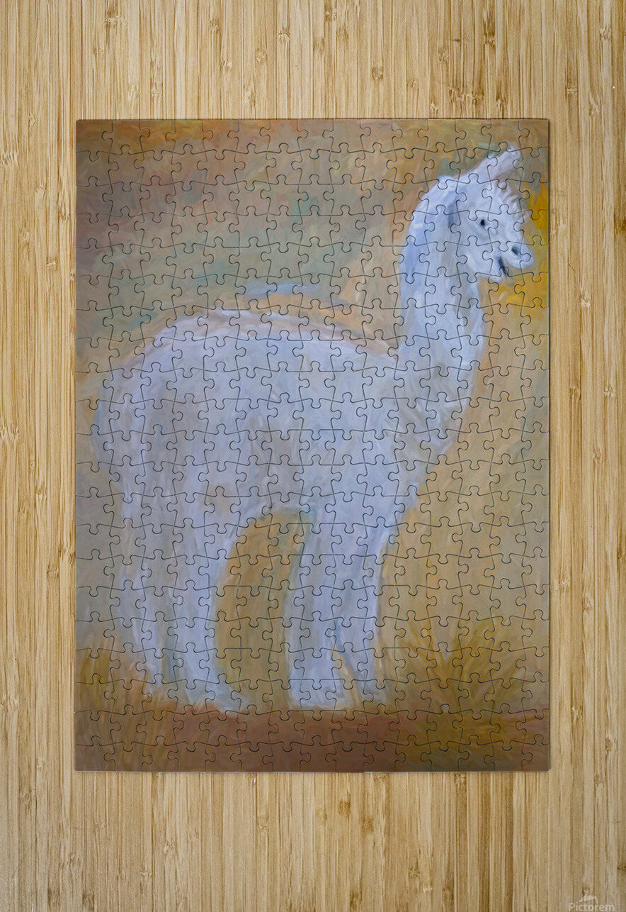 LLama  HD Metal print with Floating Frame on Back