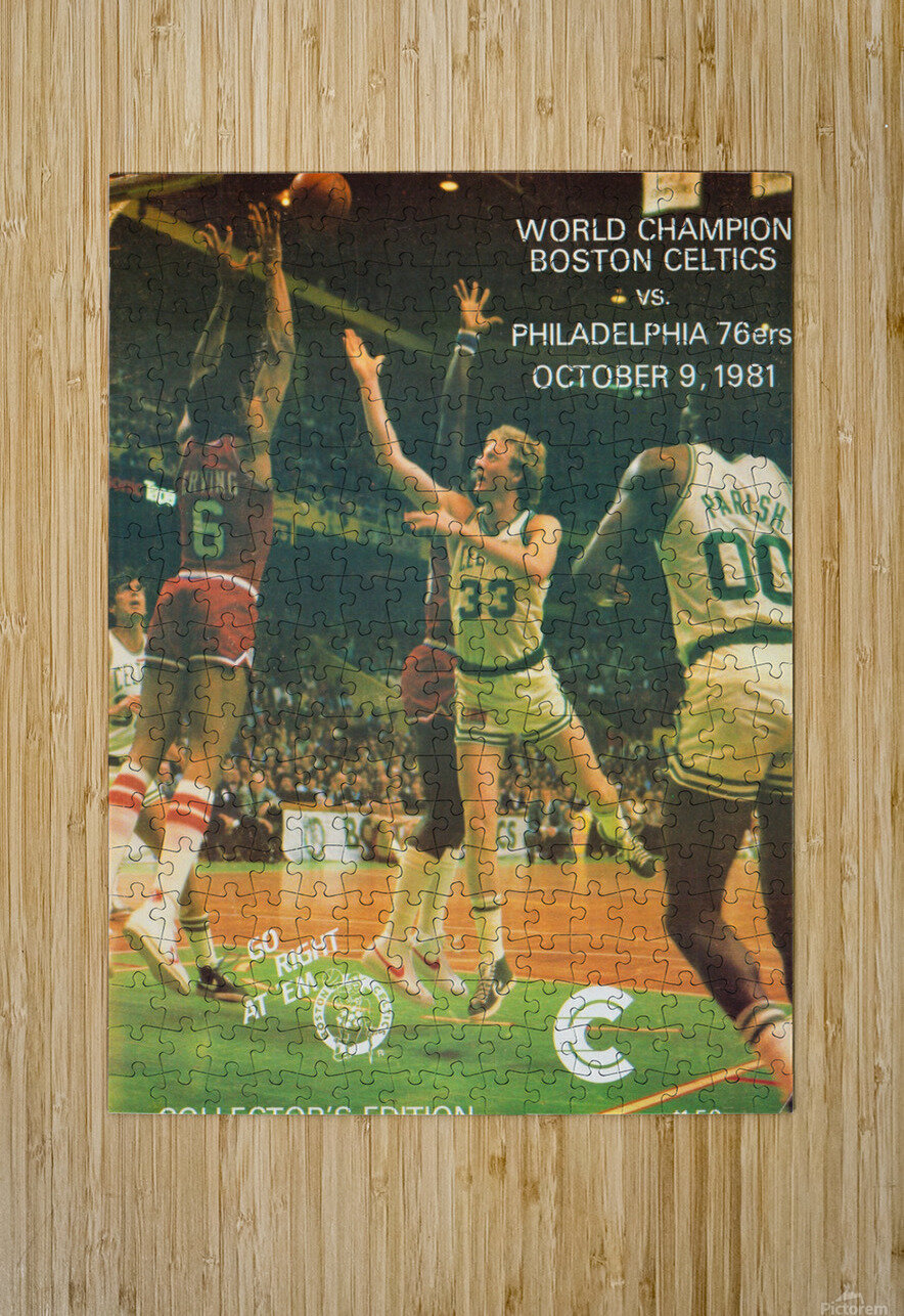 1981 boston celtics philadelphia 76ers larry bird art  HD Metal print with Floating Frame on Back