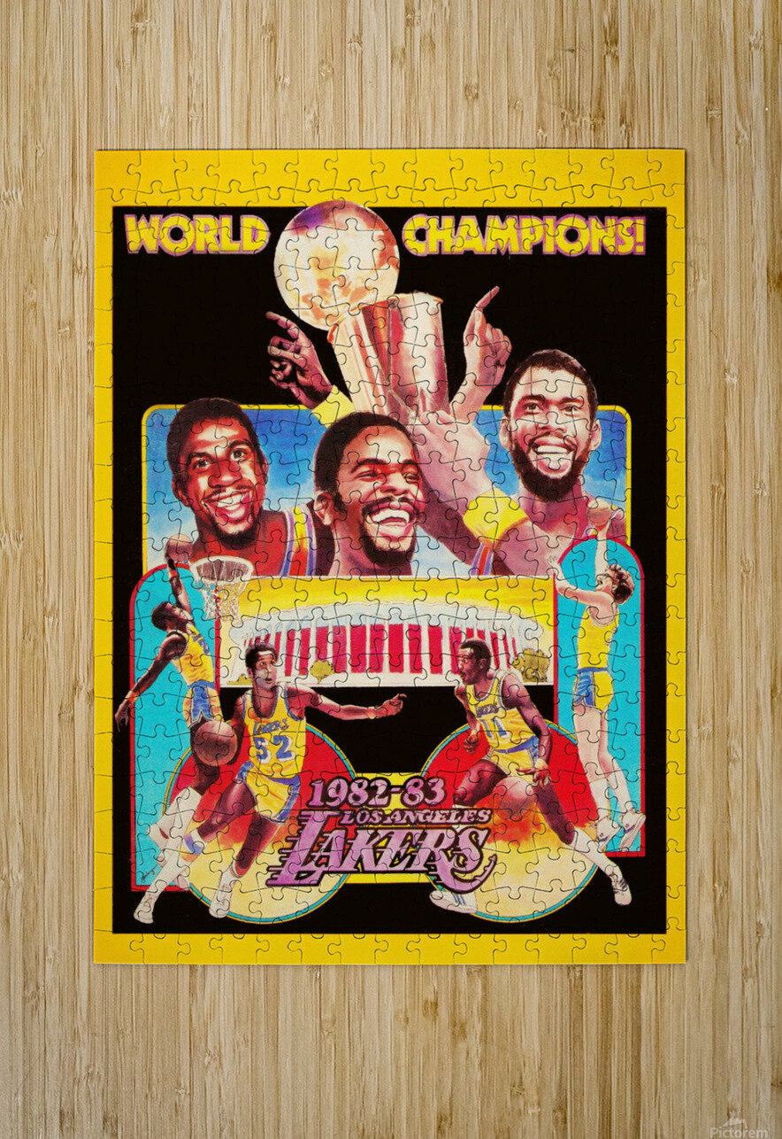 1982 LA Lakers Champion Poster  HD Metal print with Floating Frame on Back