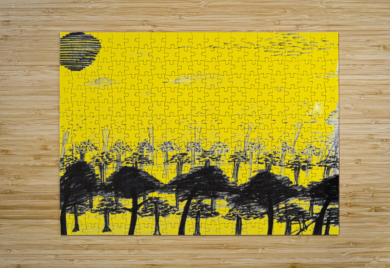 Trees vs sun  HD Metal print with Floating Frame on Back