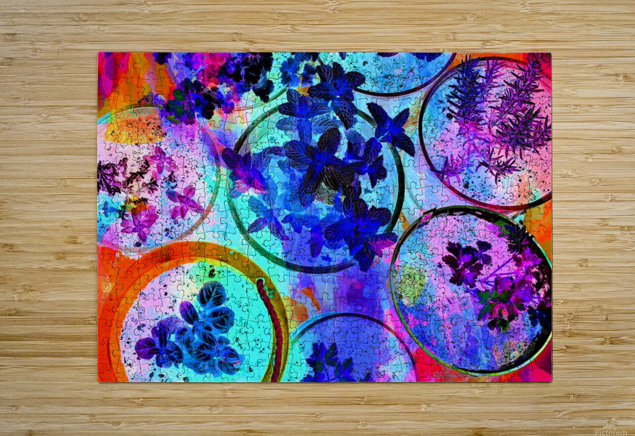 Psychedelic Herbs  HD Metal print with Floating Frame on Back