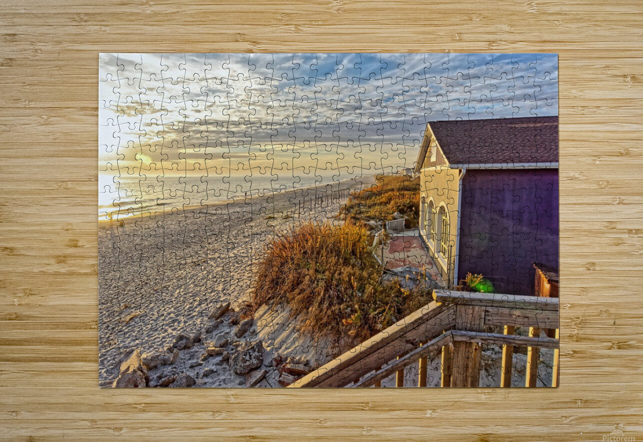 Oak Island Pier View  HD Metal print with Floating Frame on Back