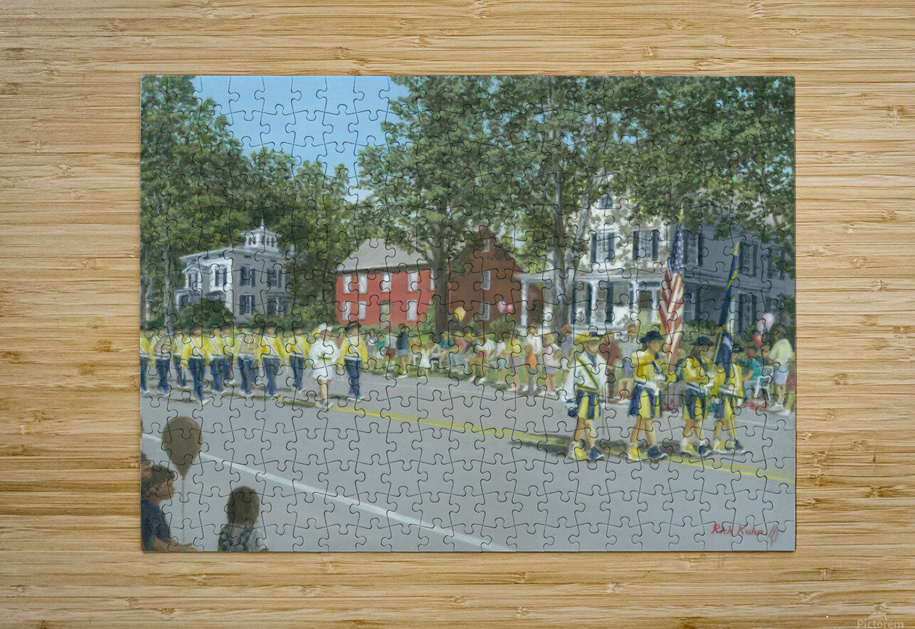 Labor Day Parade - Newtown Series 14X18  HD Metal print with Floating Frame on Back