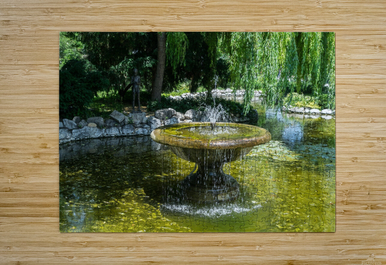 Refreshing Summer - the Little Fisherman Fountain Cheerfully Splashing in the Sunshine  HD Metal print with Floating Frame on Back