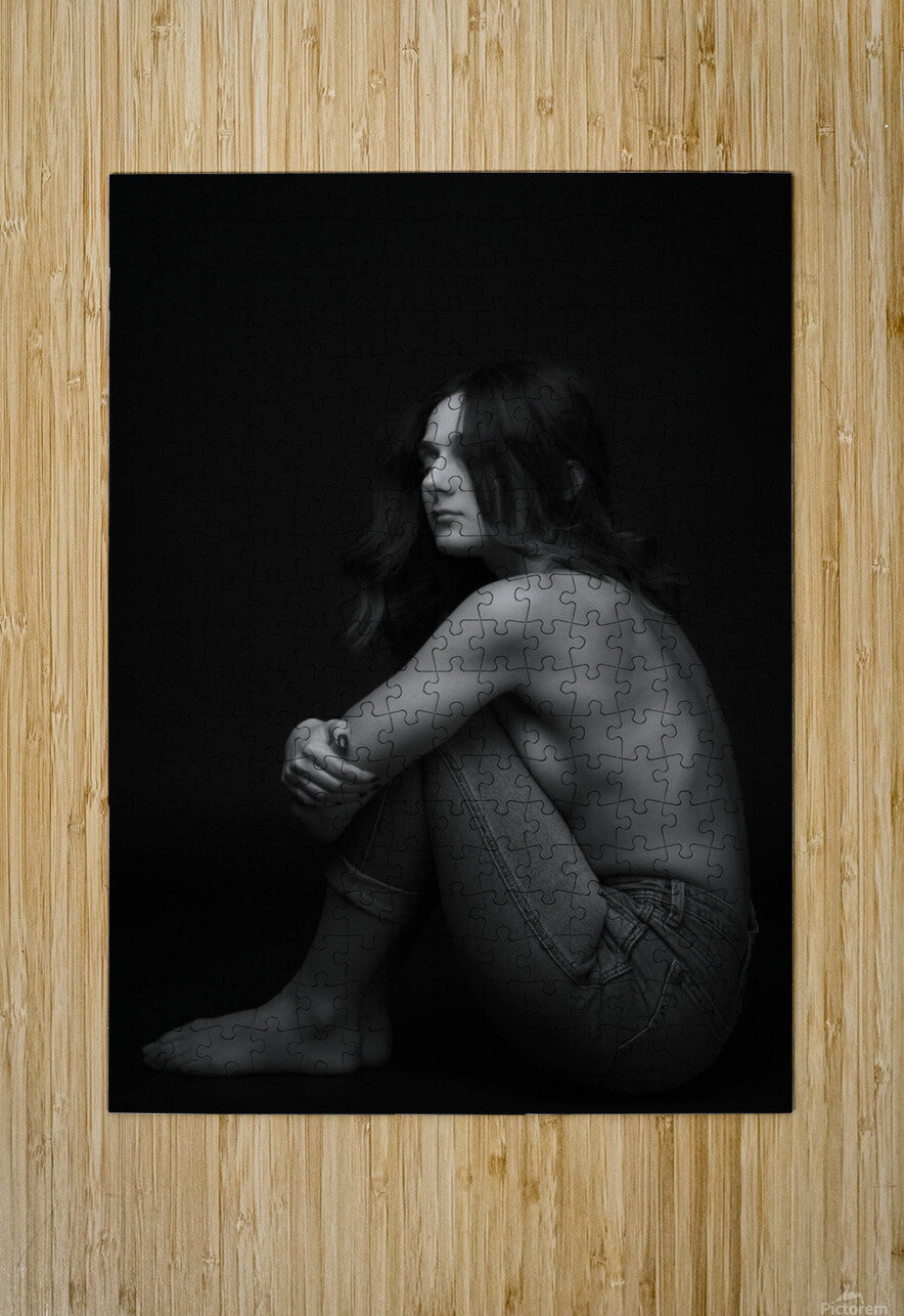 Black and White Woman Portrait 1  HD Metal print with Floating Frame on Back