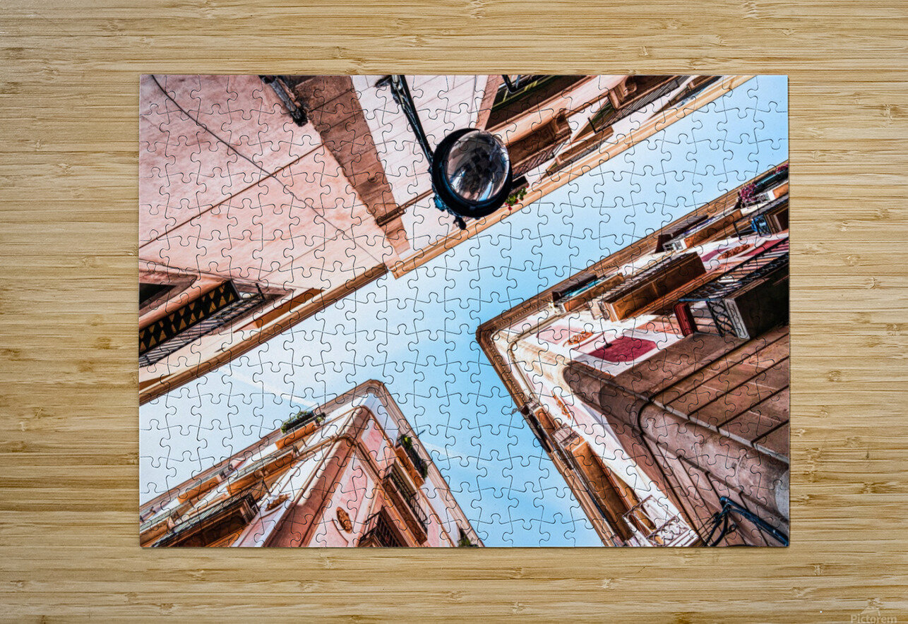 Gothic Quarter El Raval Barcelona City Perspective View Downtown Barcelona Spain Travel Print Vintage Architecture  HD Metal print with Floating Frame on Back