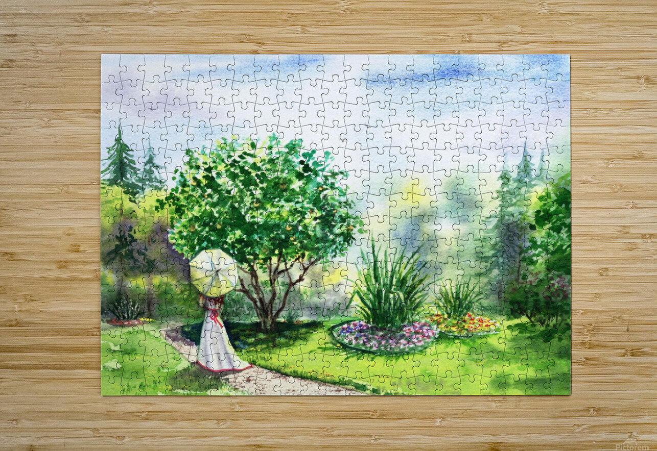 Strolling In The Garden  HD Metal print with Floating Frame on Back