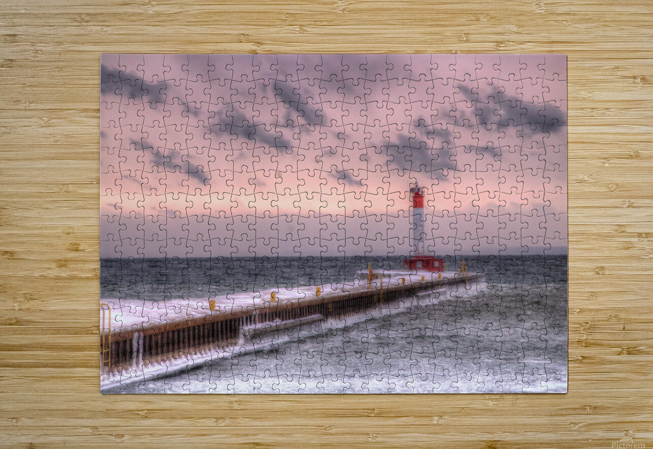 Lighthouse Oakville Pier IMG_3643_4_5 copy  HD Metal print with Floating Frame on Back