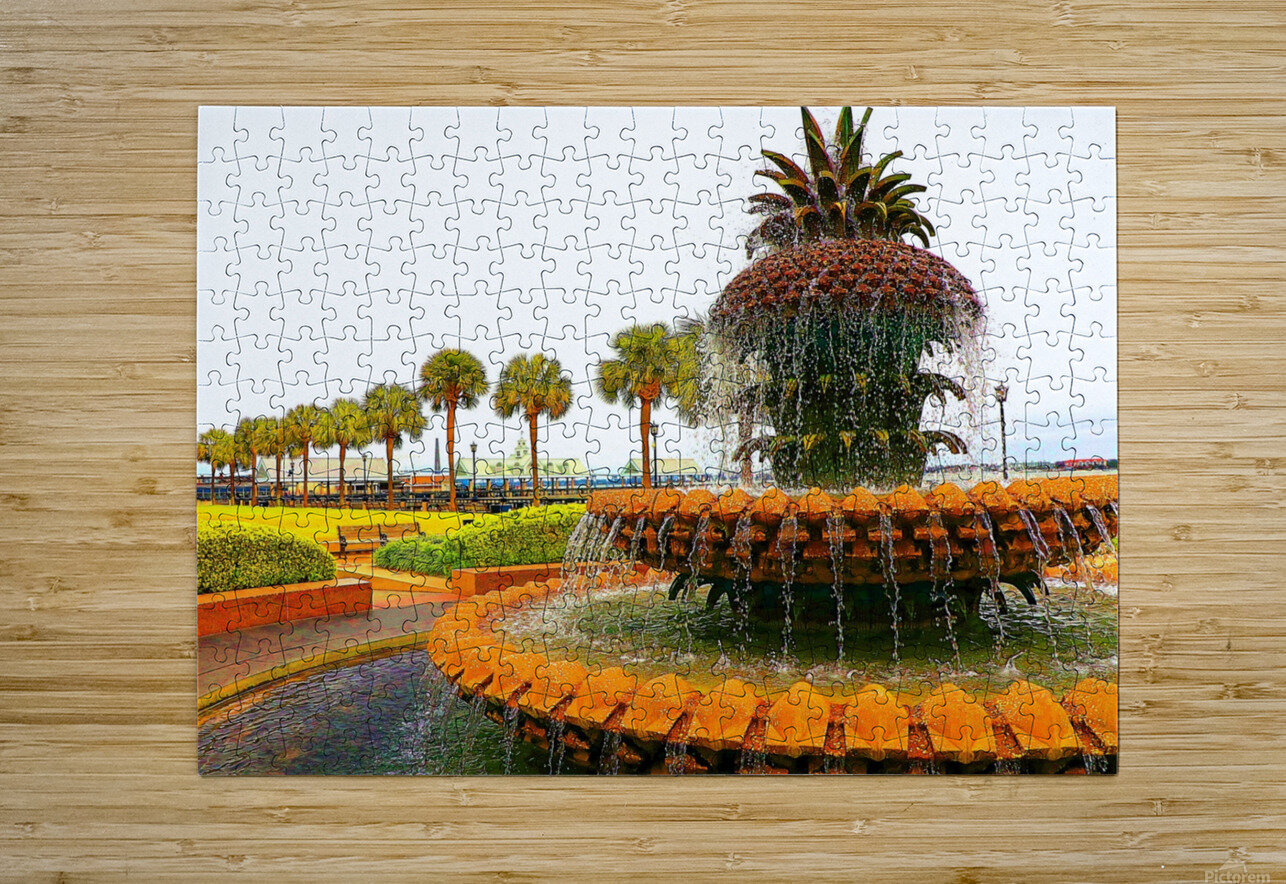 Pineapple Fountain - Charleston SC  HD Metal print with Floating Frame on Back