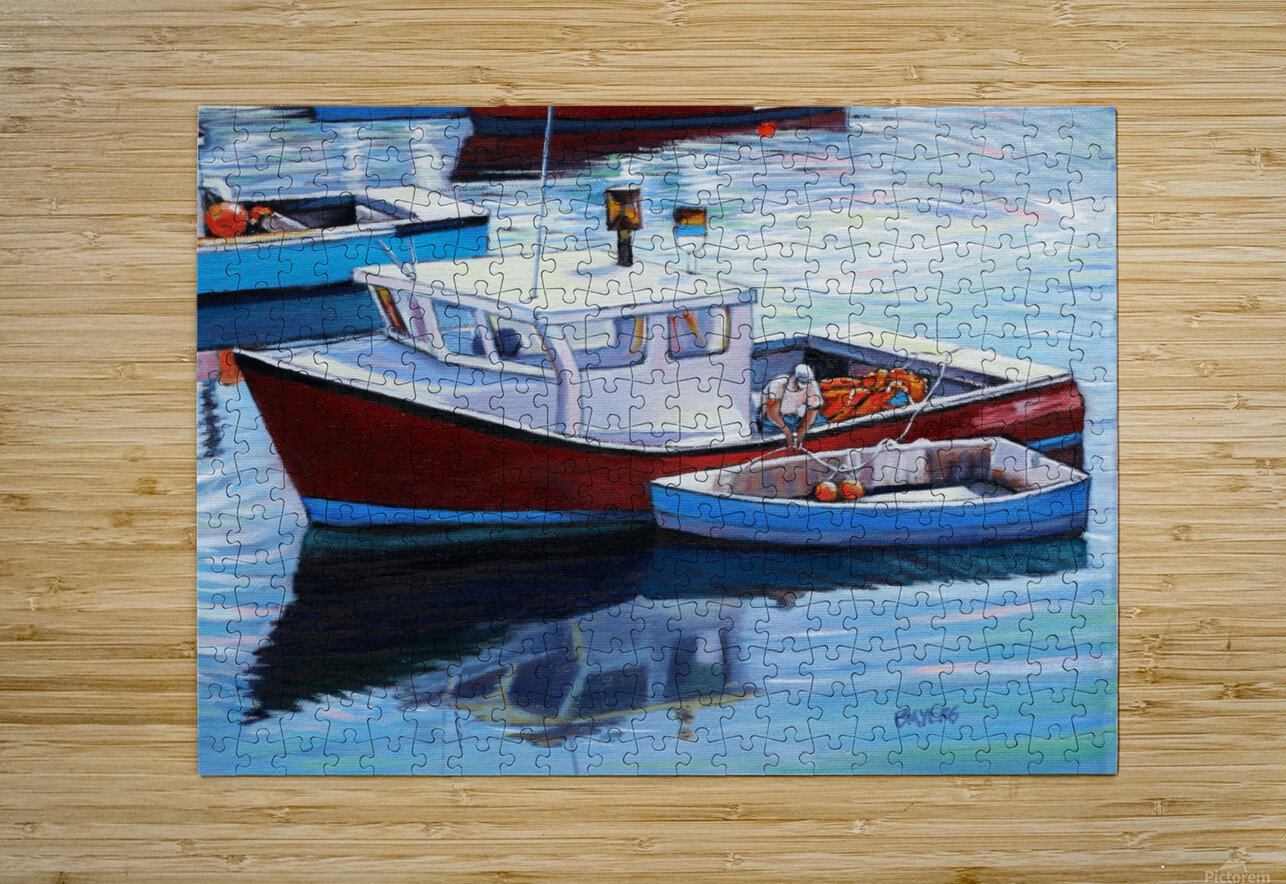 Tying Up Dinghy in Rockport MS  HD Metal print with Floating Frame on Back