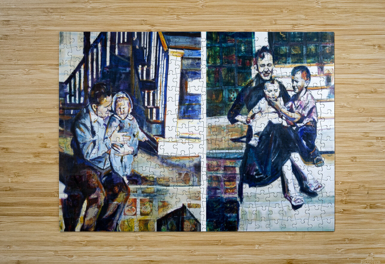 Louisiana father and Mother at the Stairs Diptych with Vintage Recipe Collage  HD Metal print with Floating Frame on Back