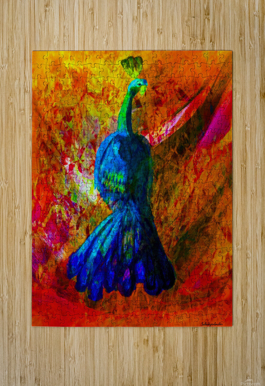 Peacock  HD Metal print with Floating Frame on Back