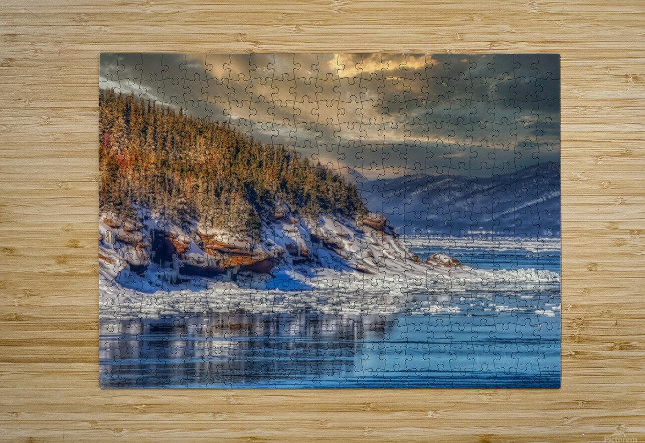 Pointe St-Pierre sous la glace  Impression métal HD avec cadre flottant sur le dos