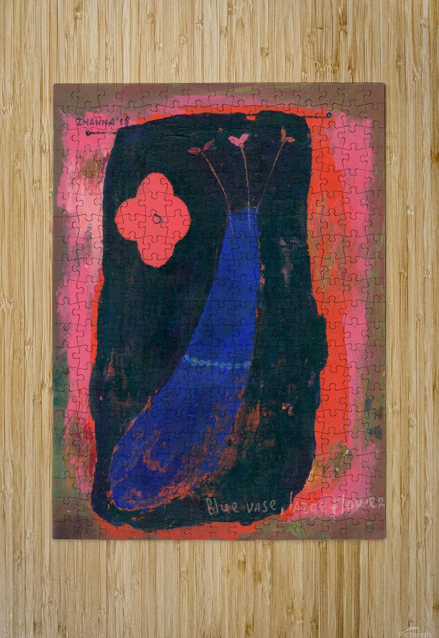 Blue Vase Large Flower  HD Metal print with Floating Frame on Back