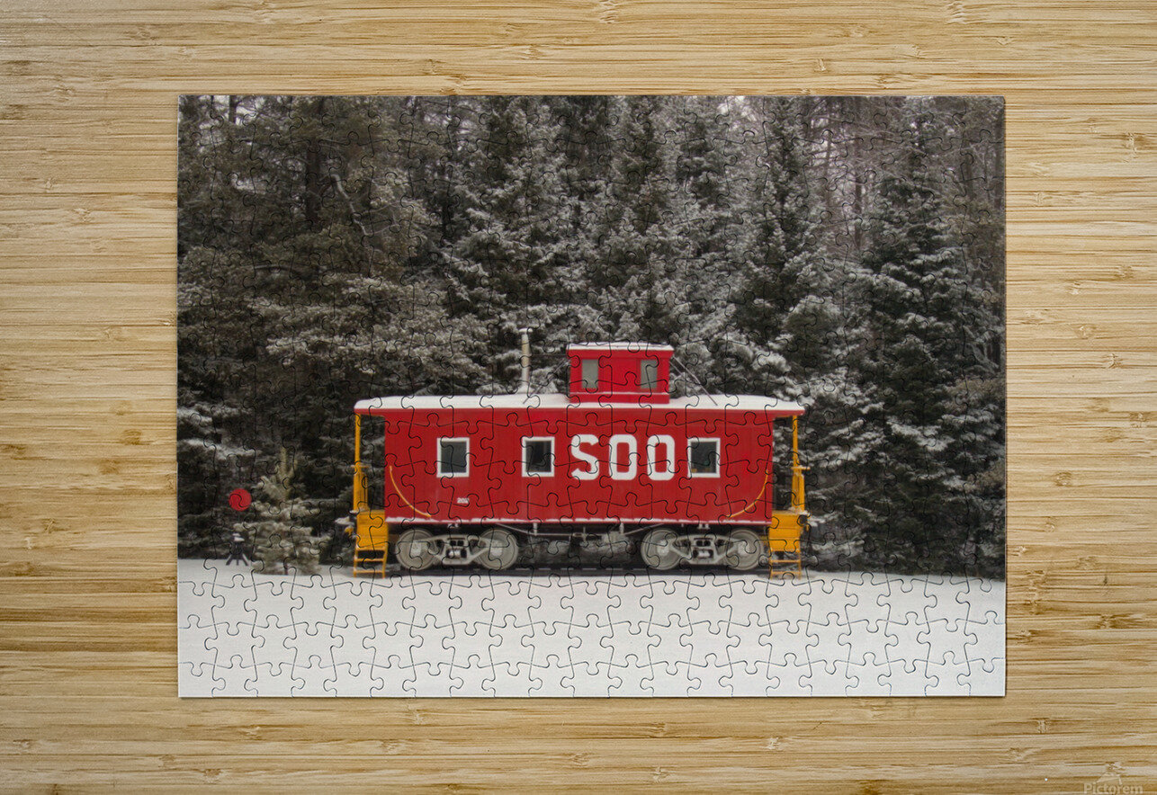 Soo Caboose in Fresh Snow  HD Metal print with Floating Frame on Back