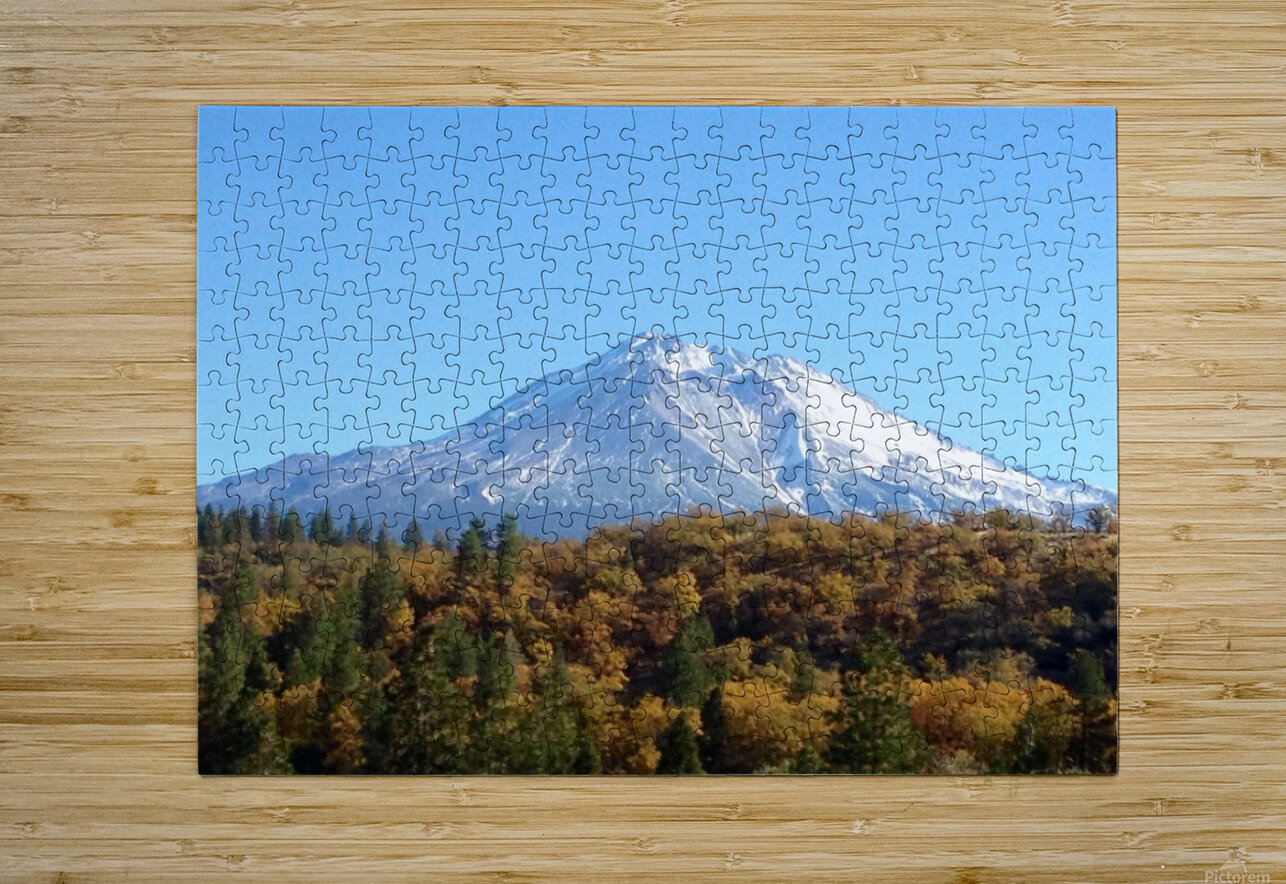 Mt Shasta in Autumn  HD Metal print with Floating Frame on Back