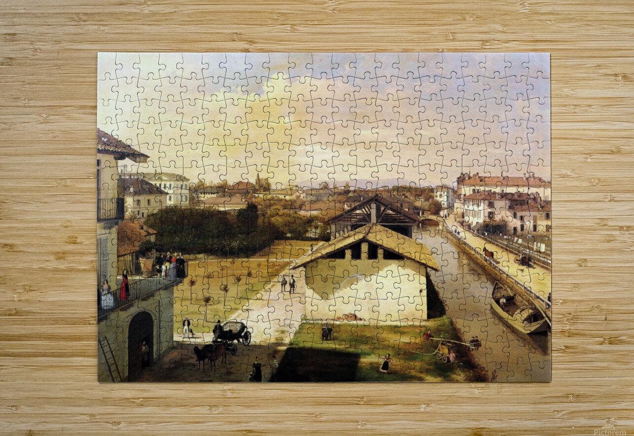 Veduta del Naviglio di San Marco dalla terrazza di Ca Medici, Milano, 1837  HD Metal print with Floating Frame on Back