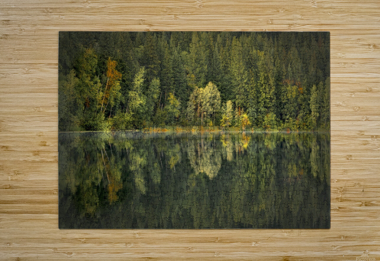 Mountain Lake in Fall  HD Metal print with Floating Frame on Back