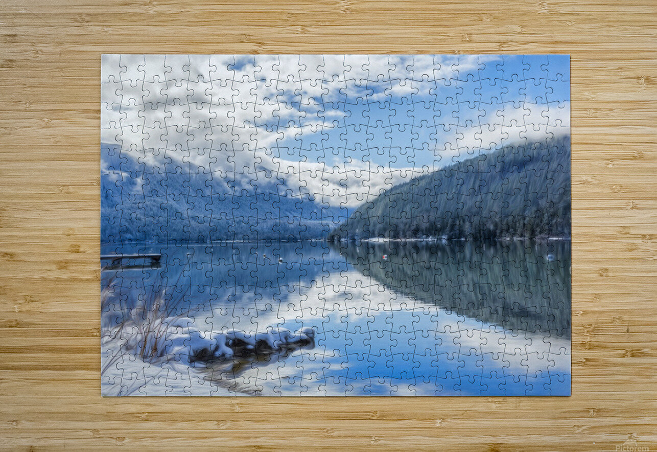 Snowy Day on the Lake  HD Metal print with Floating Frame on Back