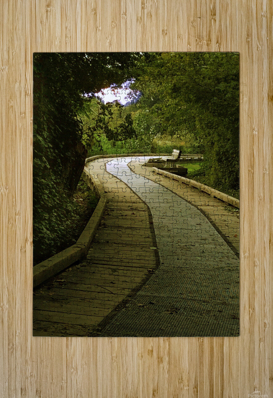 Boardwalk stroll  HD Metal print with Floating Frame on Back