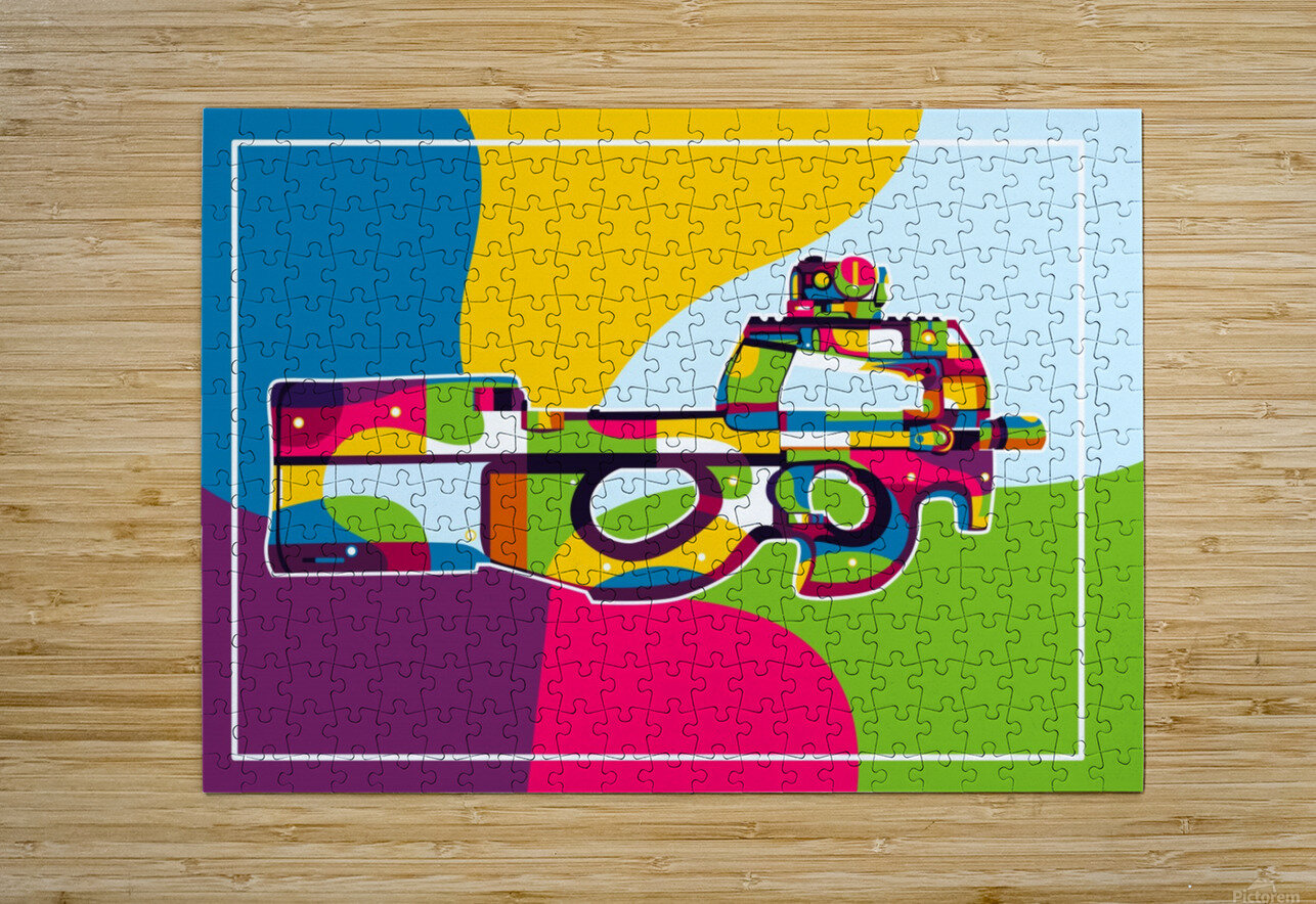 FN P90 Pop Art  HD Metal print with Floating Frame on Back