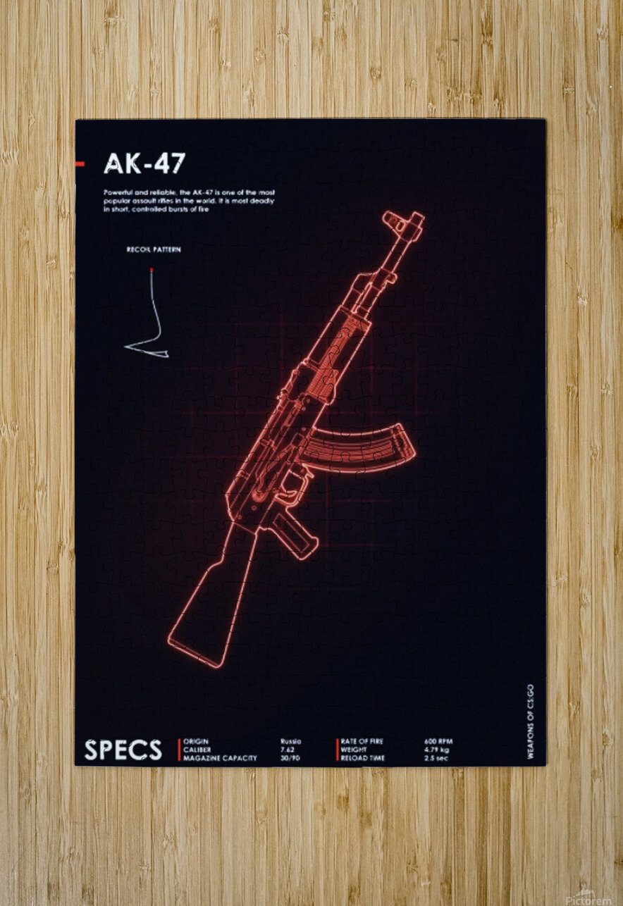 AK-47 CSGO WEAPON  HD Metal print with Floating Frame on Back