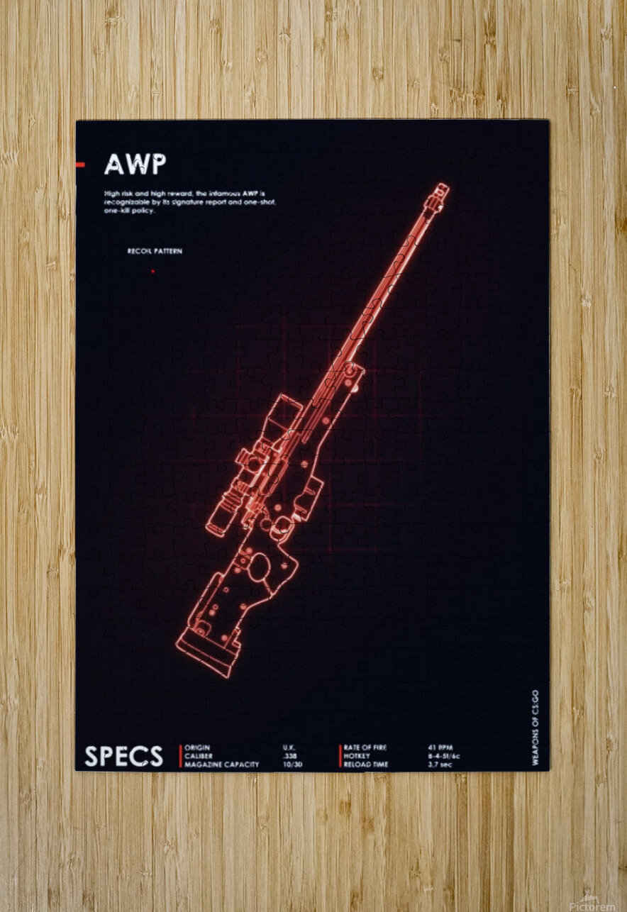 AWP CSGO WEAPON  HD Metal print with Floating Frame on Back