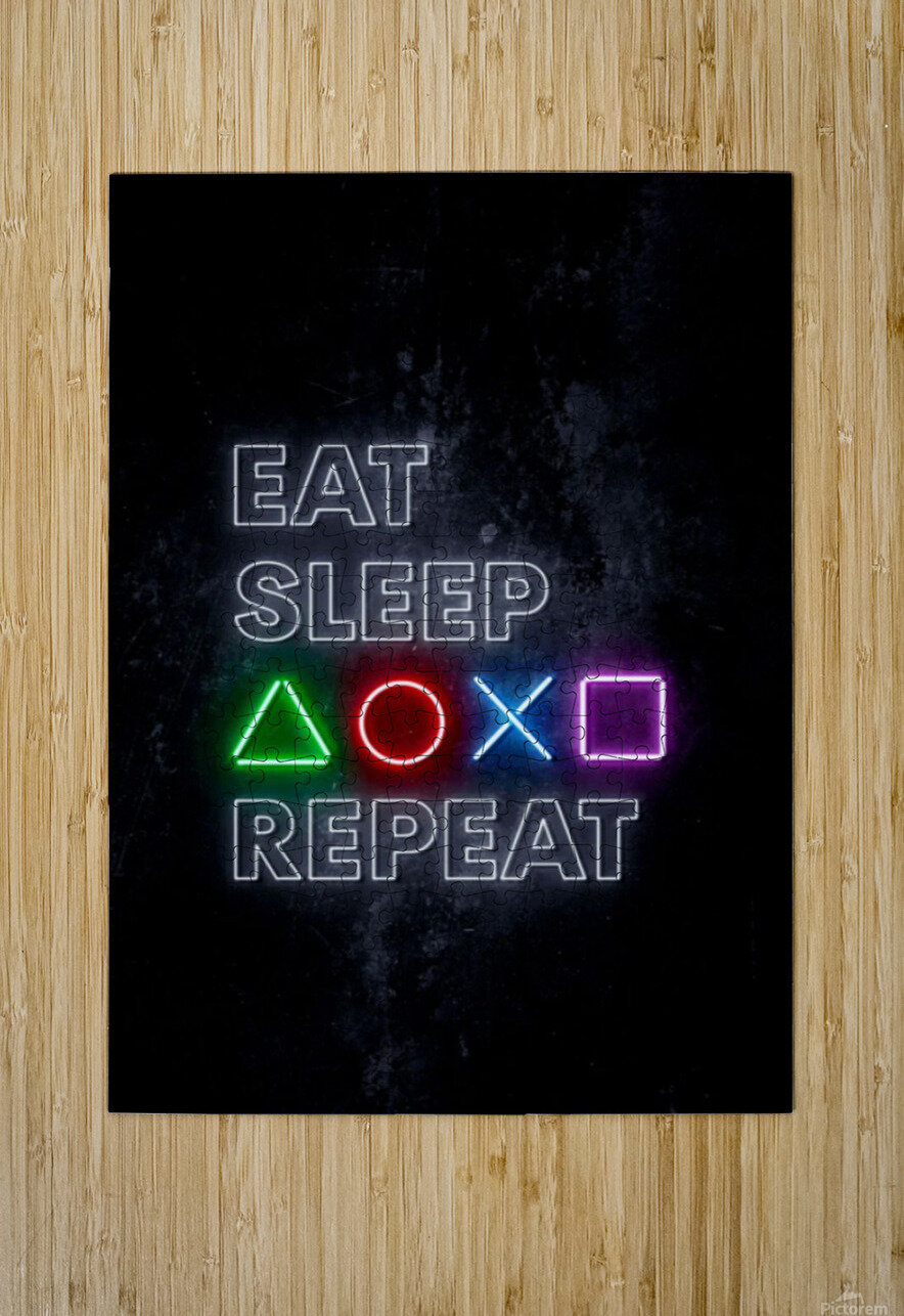 EAT SLEEP REPEAT  HD Metal print with Floating Frame on Back