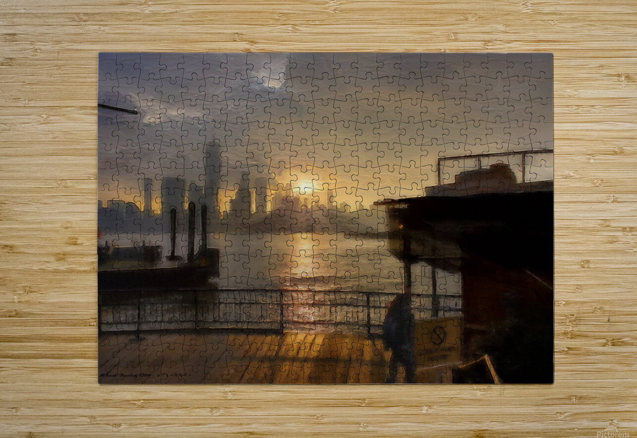 NYSunset  HD Metal print with Floating Frame on Back