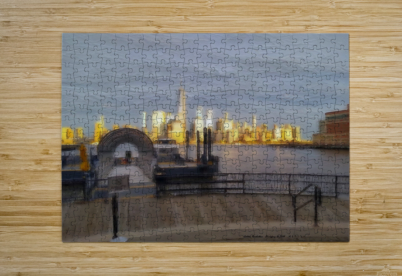 GoldenManhattan p  HD Metal print with Floating Frame on Back