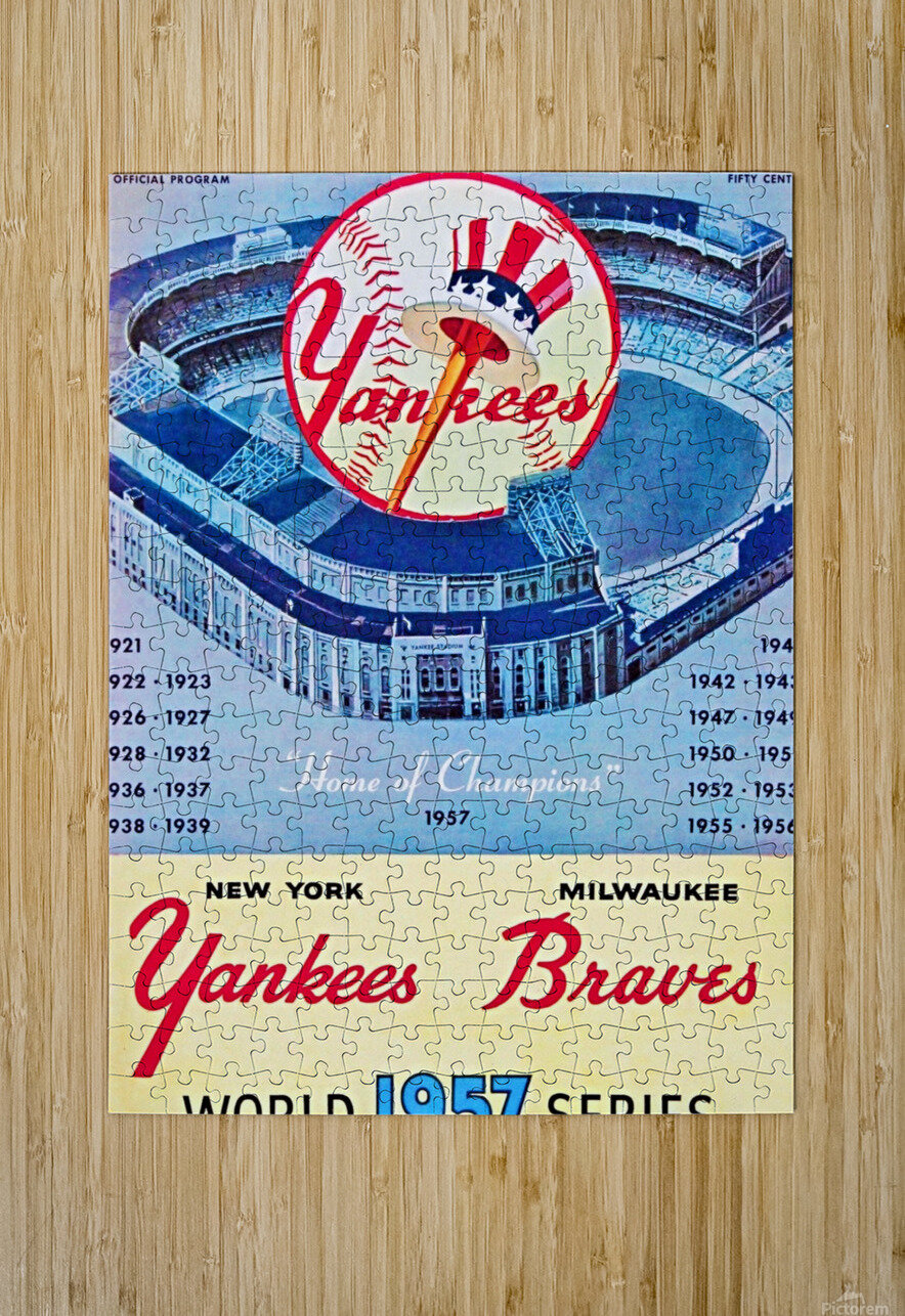 1957 World Series Program  HD Metal print with Floating Frame on Back